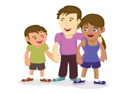 Illustration of multiracial family. Concept of multi ethnic family bonding cartoon vector illustration.