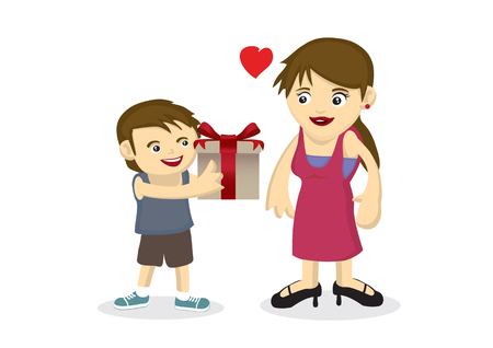 Vector cartoon illustration of a child giving a gift to his mother. Concept of bonding between the mother and son. Suitable for mother day illustration.