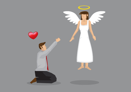 Cartoon man on his knees begging for love from his goddess with wings and halo.