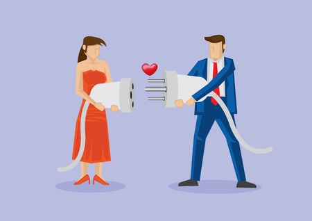 Man and woman holding male and female 3-pin electric plug and socket with heart shape in between. Creative vector cartoon illustration for love connection concept. 일러스트