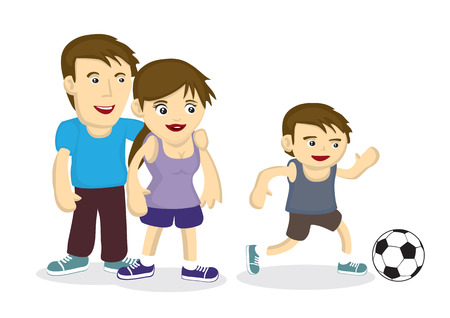 Couple seeing son playing with soccer. Concept of family bonding and fitness. Vector cartoon illustration. Vectores