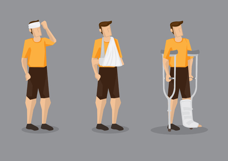 Vector illustration of man with head bandage, arm sling and leg plaster cast with crutch isolated on grey background.