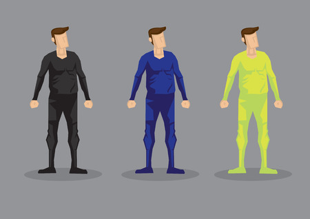 Cartoon man wearing form fitting bodysuit in colors of black, blue and neon green. Vector characters isolated on grey background.