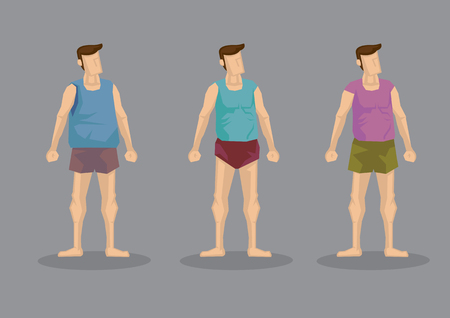Men wearing shorts and sleeveless tops. Vector character set isolated on plain grey background.