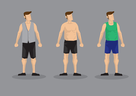 Men wearing casual fashion with shorts and different tops. Set of three vector character set for mens fashion isolated on plain grey background.
