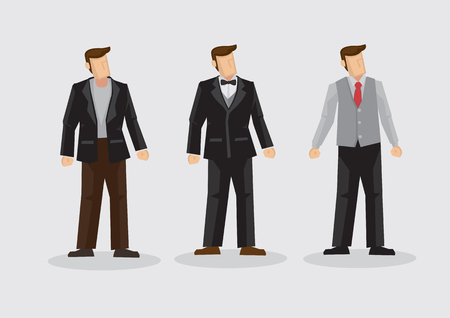 Set of three cartoon man wearing three piece suit formal outfit isolated on plain background. Stock Vector - 100864792