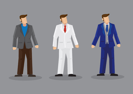 Set of three vector illustrations of faceless cartoon man wearing stylish suit isolated on grey background.