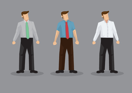 Vector illustration of three faceless cartoon man character wearing conservative office style outfits isolated on grey background. Ilustración de vector