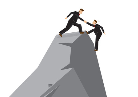Business man helping another teammate to reach the top of the cliff. Business concept of teamwork, leadership or relationship. Vector cartoon illustration.
