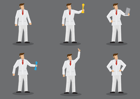 Cartoon character wearing full white suit and red necktie holding different objects and standing in different gestures. Set of six vector illustration isolated on grey background. Vectores