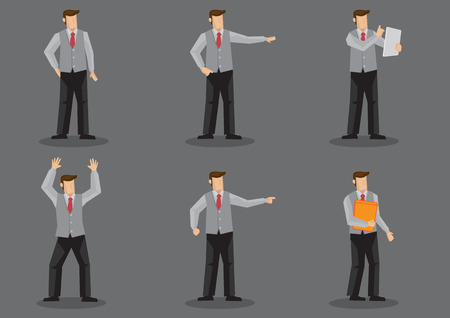Set of six vector illustration of cartoon man wearing necktie and sleeveless vest without jacket in different poses isolated on grey background.