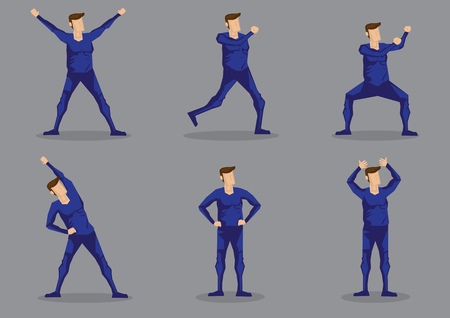 Set of six vector illustrations of cartoon man in blue one-piece skin-tight activewear isolated on grey background.