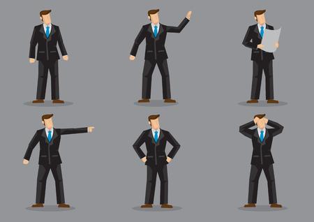 無地の灰色の背景に分離された異なるジェスチャーと感情で黒のフルスーツと青いネクタイの顔のないビジネスパーソンの6ベクトルイラストのセット。