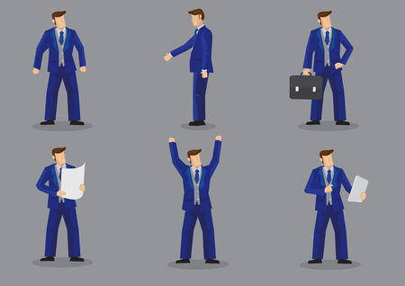 Set of six vector illustration of businessman wearing bright blue formal three piece business suit in different gestures isolated on grey background.