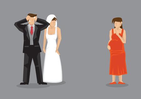 Der Bräutigam fühlt sich gestresst, als eine schwangere Freundin bei seiner Hochzeit auftaucht. Karikaturvektorillustration über außereheliche Affäre und Untreue in Beziehungen.