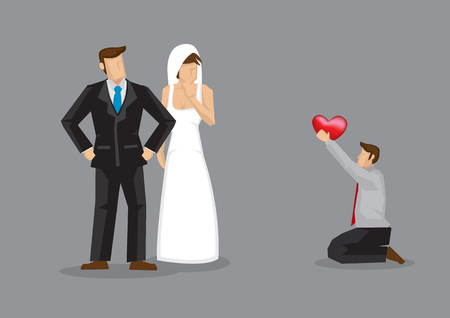 Cartoon man kneels down on floor and proposes to wedding bride. Vector illustration on concept for love triangle.