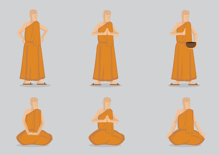 Monks wearing simple yellow robe in saying prayer and meditating in standing and sitting positions. Set of six vector cartoon illustration isolated on light grey plain background