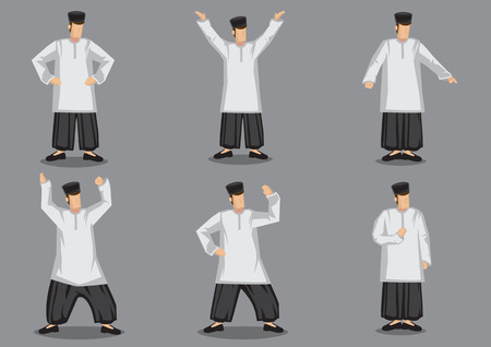 Set of six vector illustrations of character design of malay man in traditional costume isolated on grey background.