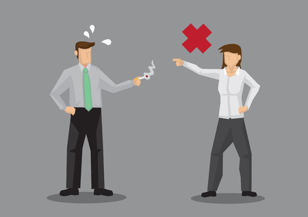Cartoon woman telling off coworker who is smoking a cigarette. Vector illustration of no smoking concept isolated on grey background. Vectores