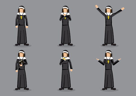 Nun wearing religious habit of black garb with headdress and cross necklace. Set of six vector cartoon characters in different gestures isolated on grey background.