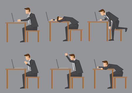 Office life of nine-to-five white collar worker or business executive. Set of six side view of vector characters sitting at his desk and doing work on laptop computer isolated on grey background