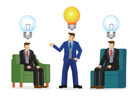 Zeigt drei Geschäftsleute. Der eine mit der Idee, den beiden anderen sein Konzept zu erklären. Zeigen Sie das Wichtige und den Vorteil in der Unternehmenswelt. Vektorgeschäftsillustration. Vektorgrafik