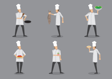 Set of six vector illustration of cartoon chef in white uniform and toque serving food with pride isolated on grey background.