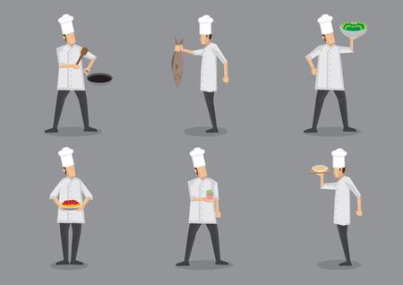 Set van zes vectorillustratie van cartoon chef-kok in wit uniform en toque eten serveren met trots geïsoleerd op een grijze achtergrond.