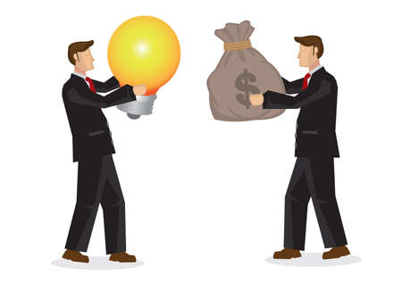 Businessman holds money exchange with another businessman holding a light bulb. Buying of idea. Investing in innovation business concept. Vector illustration.