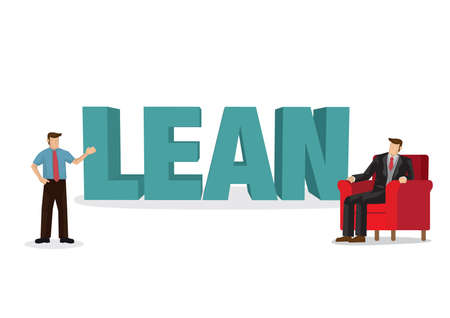 Business discussion about the methodology of Lean business concept. Business strategy transformation for the organization. Isolated vector illustration.