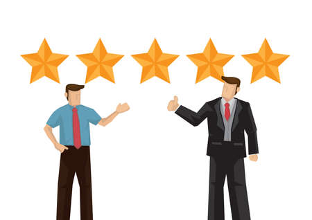 Businessman praise for the work done for the quality service he receive and getting a five star rating. Vector illustration.