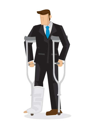 Badly injured cartoon business character in suit with a broken leg walking on crutches. Isolated vector illustration. Иллюстрация
