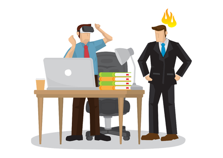 Businessman wearing virtual reality VR glasses while his boss is angry with him. Vector illustration. Vektoros illusztráció