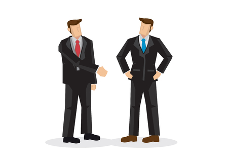 Business man offering hand shake while another is ignoring him. Concept of negotiating business, disagreement, office fight, rejection, miscommunication or disapprove. Isolated vector illustration.