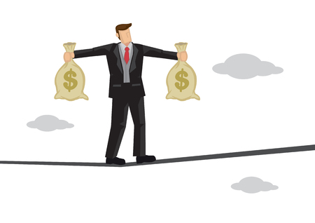 Businessman in suit balancing on a tight rope with a two bags of money. Concept of financial risks. Vector isolated illustration. Vectores