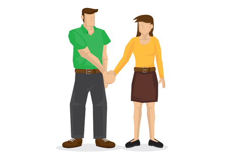 People hand shaking. Concept of negotiating, friendship, love relationship; dating; cooperation, collaboration, teamwork, communication or partnership. Isolated vector illustration