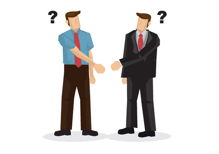 Business people hand shaking with different hands. Concept of misunderstanding, confused, doubt, uncertainty or miscommunication. Isolated vector illustration. Vektorgrafik