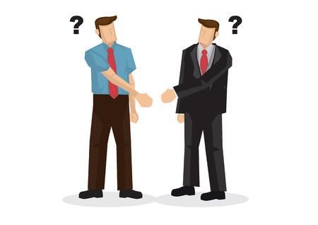 Gli uomini d'affari stringono la mano con mani diverse. Concetto di incomprensione, confusione, dubbio, incertezza o cattiva comunicazione. Illustrazione vettoriale isolato. Vettoriali