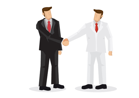 Business people hand shaking. Concept of negotiating business, cooperation, collaboration, teamwork, communication or partnership. Isolated vector illustration