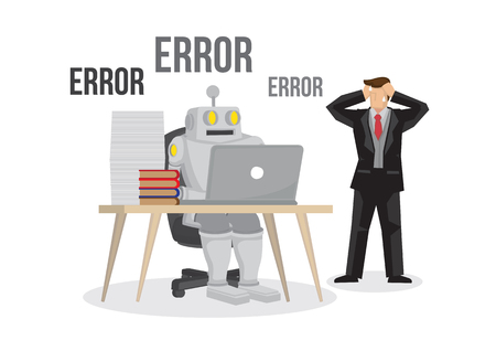 Artificial intelligence robot failures broken down due to overloaded. Artificial brain glitch and error. Future concept. Business man is worry about the failure of his business. Isolated vector illustration. 일러스트