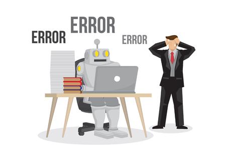 Fallos del robot de inteligencia artificial averiados por sobrecarga. Fallo y error del cerebro artificial. Concepto futuro. El hombre de negocios está preocupado por el fracaso de su negocio. Ilustración de vector aislado.