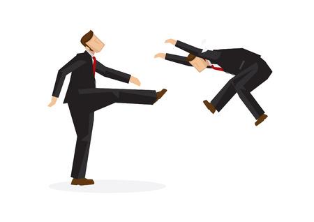 Ein gemeiner Geschäftsmann tritt einen anderen Geschäftsmann weg. Konzept, Konkurrenten anzugreifen oder Mitarbeiter auf aggressive Weise zu entlassen. Isolierte Vektorillustration.