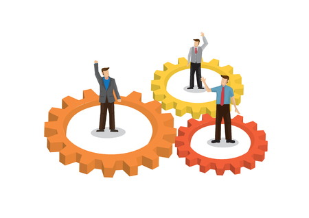 Businessman with giant gears surrounded them and waving with other businessmen. Concept of business cooperation; teamwork; collaboration and partnership. Vector illustration.