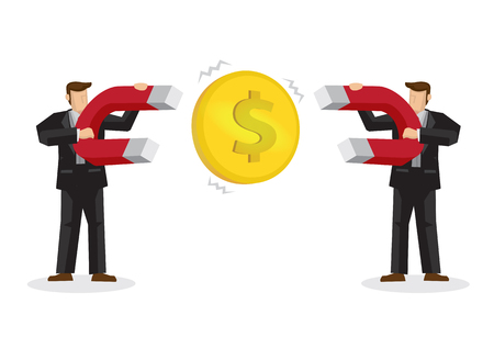 Two Businessman attracts money with large money magnets. Concept of competition. Vector illustration. Isolated on background 矢量图像