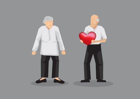 Elderly couple with old man holding a heart in his hand. Cartoon vector illustration isolated on grey background. Stock Illustratie