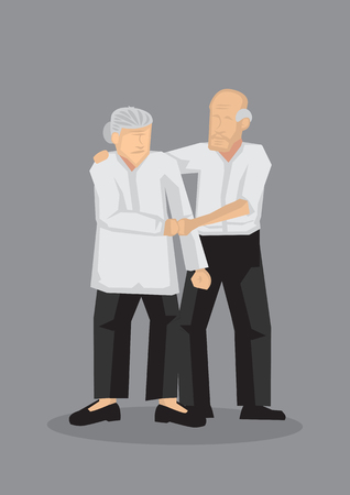 Vector illustration of an old couple holding and supporting each other isolated on grey background. Vettoriali