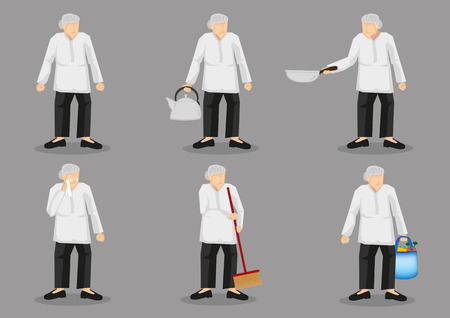 Set of six vector illustrations of old lady wearing loose clothing and pants holding different household items. Cartoon character design isolated on grey background.