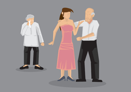 Old man dating sexy young woman and abandon wife. Vector illustration on extramarital affairs and infidelity concept isolated on grey background.