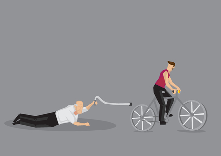 Vector illustration of cartoon old man fell down on cyclist road isolated on grey background. Çizim