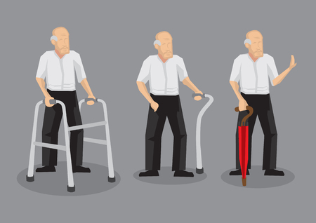 Set of three vector cartoon illustrations of elderly man with mobility aid isolated on grey background. Illustration